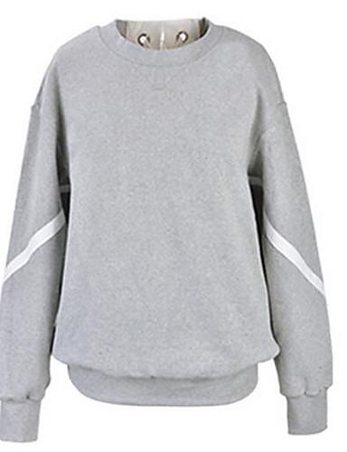 Damen Pullover Lässig/Alltäglich Solide Rundhalsausschnitt Unelastisch Baumwolle Lange Ärmel Herbst