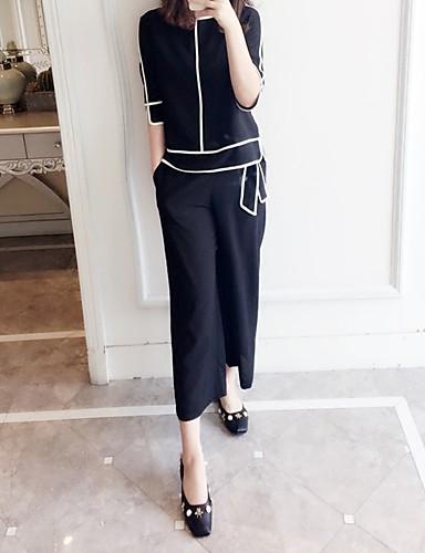 Damen Solide Gestreift Ausgehen Rückenfrei Rüsche Street Schick Hose Standard 3/4 Ärmel Rundhalsausschnitt Sommer Baumwolle