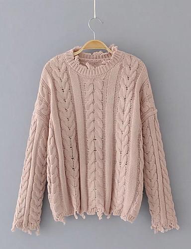 Damen Standard Pullover-Lässig/Alltäglich Ausgehen Einfach Niedlich Solide Rundhalsausschnitt Langarm Andere Winter Herbst Mittel Dünn