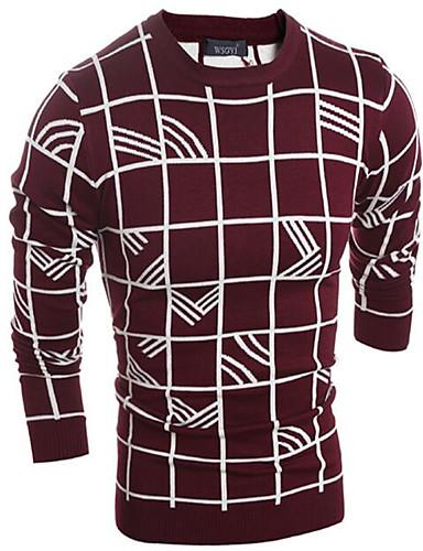Herren Standard Pullover-Lässig/Alltäglich Einfach Solide Geometrisch Verziert Rundhalsausschnitt Langarm Polyester Herbst Winter Mittel