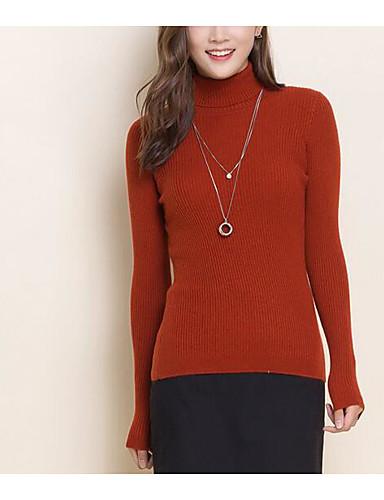 Damen Standard Pullover-Lässig/Alltäglich Ausgehen Retro Einfach Niedlich Solide Rollkragen Langarm Wolle Baumwolle Polyester Herbst