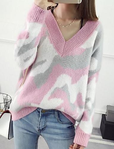 Damen Standard Pullover-Lässig/Alltäglich Druck V-Ausschnitt Langarm Baumwolle Leinen Herbst Mittel Mikro-elastisch