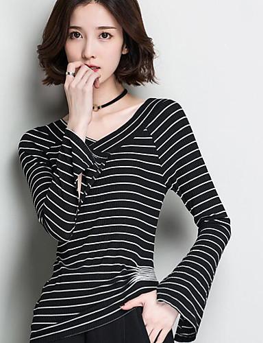 Damen Standard Pullover-Lässig/Alltäglich Gestreift V-Ausschnitt 3/4 Ärmel Baumwolle Andere Frühling Dünn Mikro-elastisch