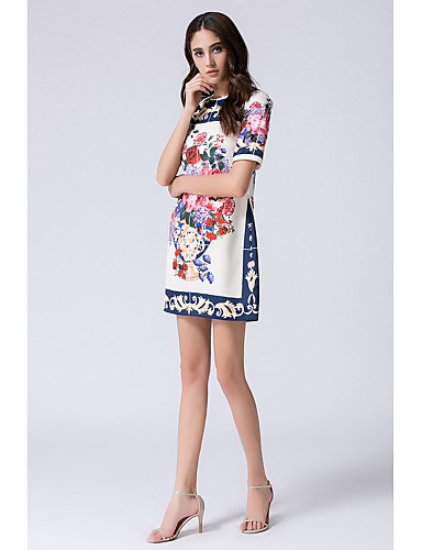 Damen Freizeit Chinoiserie Etuikleid Hülle Kleid - Druck Knielang