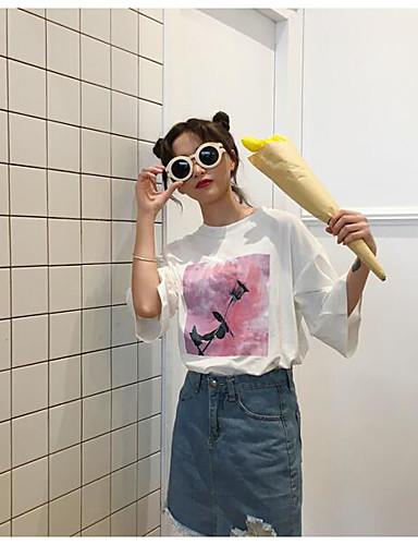 Damen Blumen Niedlich Ausgehen T-shirt,Rundhalsausschnitt Kurzarm Baumwolle