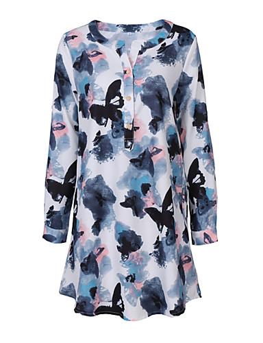Damen Lose Kleid-Ausgehen Blumen Rundhalsausschnitt Midi Mini Langarm Polyester Sommer Hohe Hüfthöhe Dehnbar Mittel