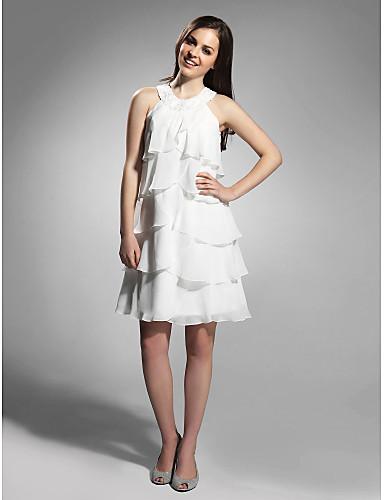 Kroj uz tijelo Ovalni izrez Do koljena Šifon Celebrity Style Koktel zabava Haljina s Perlica po TS Couture®