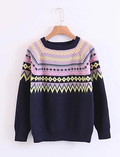 Damen Standard Pullover-Ausgehen Lässig/Alltäglich Einfach Solide Druck Rundhalsausschnitt Langarm Wolle Baumwolle Acryl Frühling Herbst