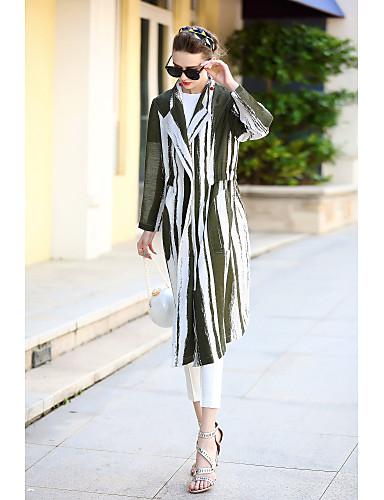 Damen Gestreift Einfarbig Einfach Freizeit Alltag Standard Trench Coat, Hemdkragen Herbst Baumwolle Polyester