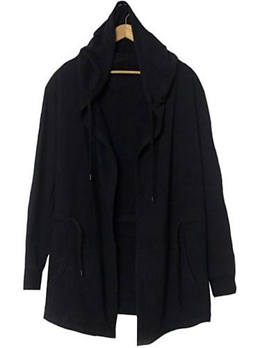 Herrn - Solide Einfach Übergrössen Lang Trench Coat, Mit Kapuze Baumwolle / Bitte wählen Sie eine Nummer größer als Ihre normale Größe.