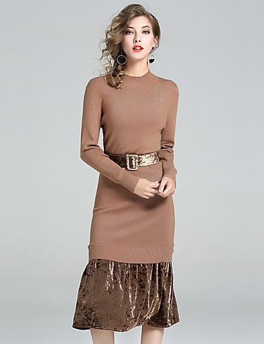 Damen Bodycon Kleid-Ausgehen Lässig/Alltäglich Einfach Solide Rundhalsausschnitt Midi Langarm Polyester Nylon Herbst Mittlere Hüfthöhe