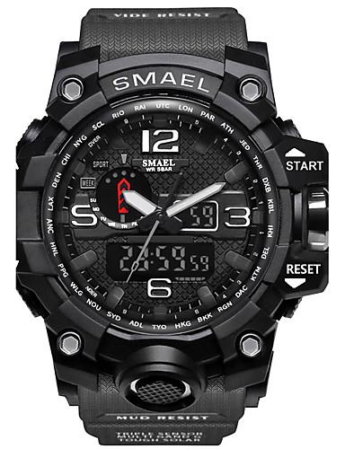 SMAEL Homens Relógio Esportivo Relógio Militar Relógio inteligente Quartzo Digital 50 m Impermeável Alarme Calendário Silicone Banda Analógico-Digital Amuleto Casual camuflagem Cores Múltiplas -