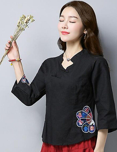 Women's Chinoiserie Shirt - Embroidery Stand
