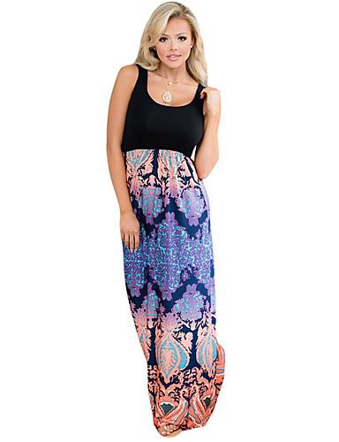 Damen Lose Kleid - Druck Maxi U-Ausschnitt Hohe Hüfthöhe