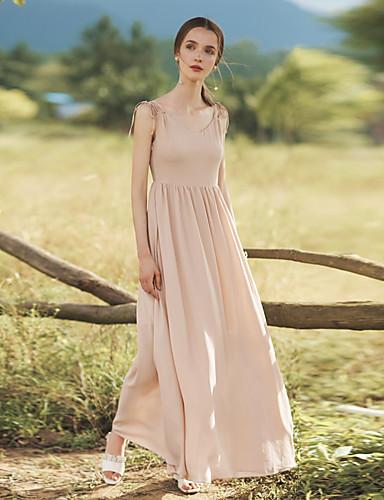 Damen Swing Kleid-Party Ausgehen Lässig/Alltäglich Sexy Einfach Solide V-Ausschnitt Maxi Ärmellos Polyester Sommer Hohe Hüfthöhe