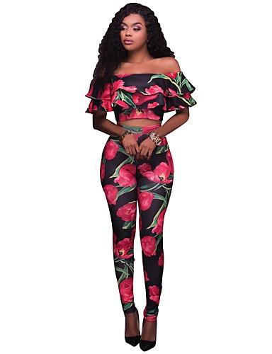 Damen Blumen Sexy Boho Lässig/Alltäglich Ausgehen T-Shirt-Ärmel Hose Anzüge,Bateau Sommer Kurzarm Rüsche Mikro-elastisch