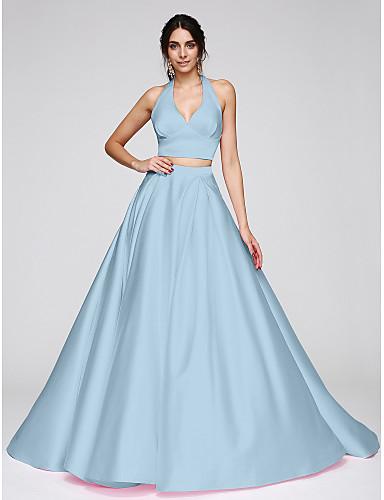 billige Todelte kjoler-Ballkjole Grime Svøpeslep Sateng To deler Formell kveld Kjole med Plissert av TS Couture®