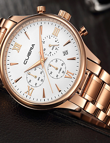 Men's Wrist Watch Japanese 30 m Water Resistant / Water Proof Calendar / date / day Creative Stainless Steel Band Analog Charm Luxury Casual Black / Silver / Gold - Gold / White Rose Gold / White