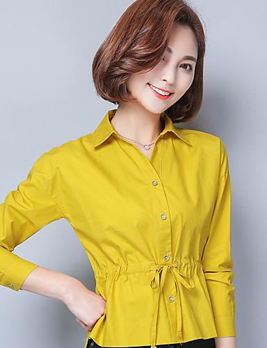 Damen Solide Einfach Niedlich Street Schick Ausgehen Lässig/Alltäglich Arbeit Hemd,Hemdkragen Frühling Langarm Baumwolle Mittel