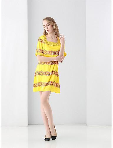 صيف حرير كم قصير فوق الركبة رقبة مربعة طباعة فستان غمد جميل ذهاب للخارج نساء,وسط مطاطي صغير وسط