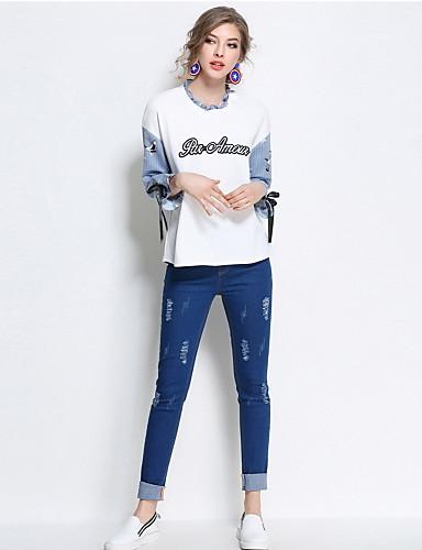 Damen Einfach Schlank Jeans Hose Solide