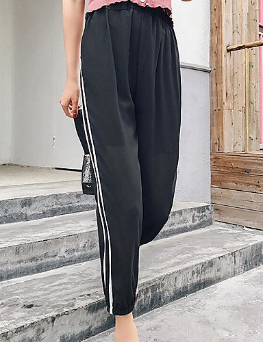 Damen Einfach Hohe Hüfthöhe Mikro-elastisch Chinos Haremshosen Hose Solide Gestreift