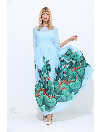 Damen Swing Kleid - Druck Maxi