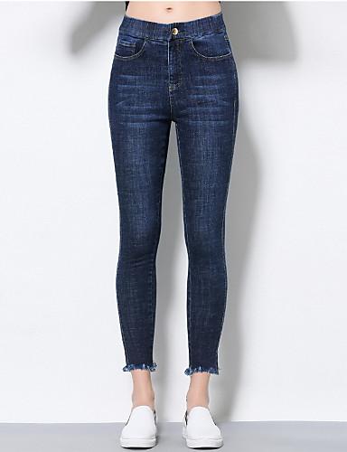 Damen Einfach Gerade Jeans Hose Solide