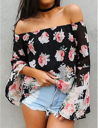 Damen Solide Blumen Sexy Einfach Lässig/Alltäglich Bluse,Schulterfrei Kurzarm Baumwolle Polyester