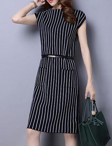 Damen A-Linie Lose Etuikleid Kleid-Ausgehen Lässig/Alltäglich Arbeit Sexy Einfach Street Schick Solide Gestreift Rundhalsausschnitt Übers