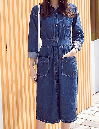 Damen Hülle Kleid-Lässig/Alltäglich Solide Rundhalsausschnitt Knielang 3/4 Ärmel Baumwolle Frühling Mittlere Hüfthöhe Unelastisch