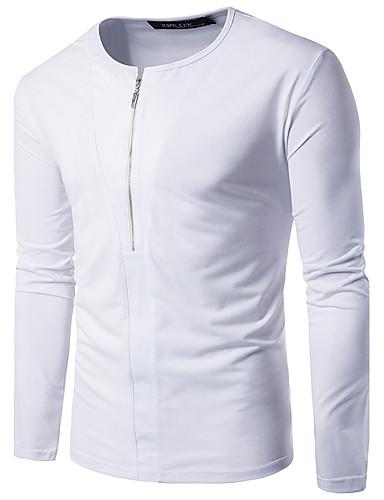 Men's Cotton T-shirt - Solid Colored Round Neck