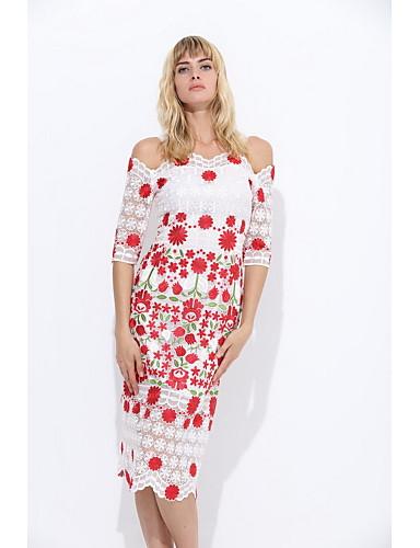 Damen Bodycon Hülle Spitze Kleid Blumen Stickerei Gurt