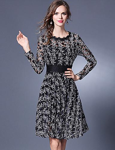 Damen Hülle Spitze Kleid-Ausgehen Lässig/Alltäglich Street Schick Patchwork Rundhalsausschnitt Knielang Langarm Polyester Sommer Herbst