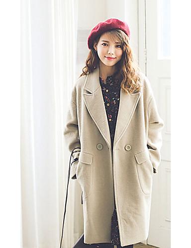 Damen Solide Street Schick Ausgehen Mantel,V-Ausschnitt Winter Lange Ärmel Standard Wolle