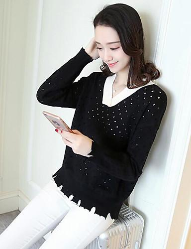Damen Kurz Pullover-Lässig/Alltäglich Solide V-Ausschnitt Langarm Baumwolle Frühling Herbst Mittel Mikro-elastisch