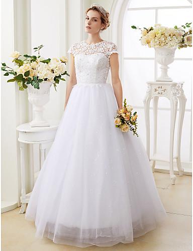 A-라인 공주 환상 목걸이 바닥 길이 레이스 튤 웨딩 드레스 와 비즈 으로 LAN TING BRIDE®