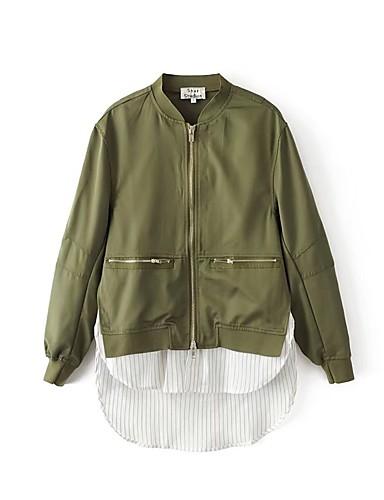 Damen Solide Einfach Sport Ausgehen Jacke,Ständer Frühling Herbst Langärmelige Standard Baumwolle