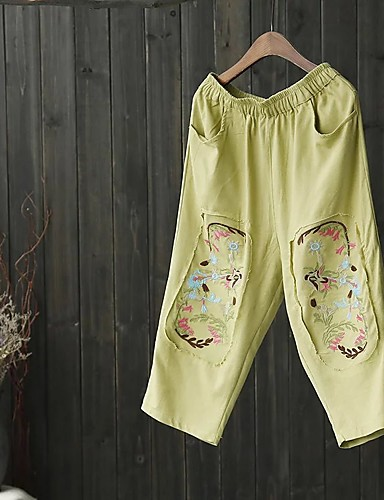 Damen Street Schick Mittlere Hüfthöhe Mikro-elastisch Gerade Lose Breites Bein Hose,Baumwolle Leinen Frühling Sommer Herbst Stickerei