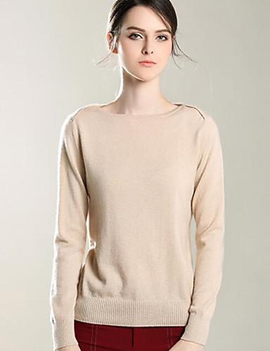 Damen Kurz Pullover-Lässig/Alltäglich Solide Rundhalsausschnitt Langarm Polyester Frühling Herbst Dünn Dehnbar