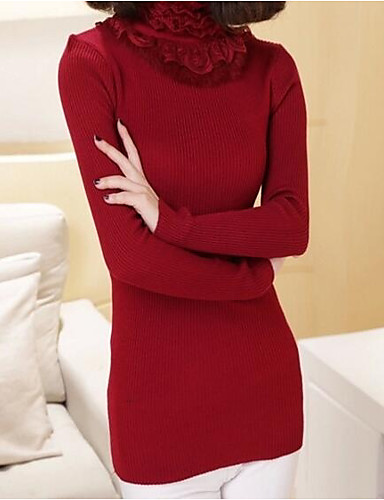 Women's Daily / Going out Casual Solid Colored Long Sleeve Slim Regular Pullover, Turtleneck Spring / Fall Wool Black / Red One-Size