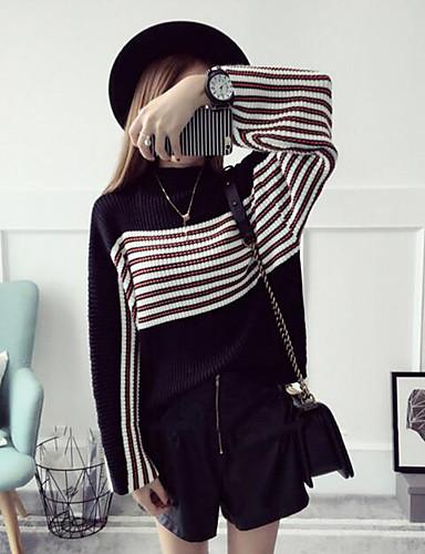 Damen Standard Pullover-Lässig/Alltäglich Einfach Solide Gestreift Rundhalsausschnitt Langarm Polyester Herbst Mittel Mikro-elastisch