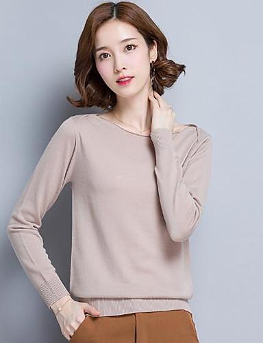 Damen Standard Pullover-Lässig/Alltäglich Solide Bateau Langarm Wolle Andere Herbst Winter Mittel Mikro-elastisch