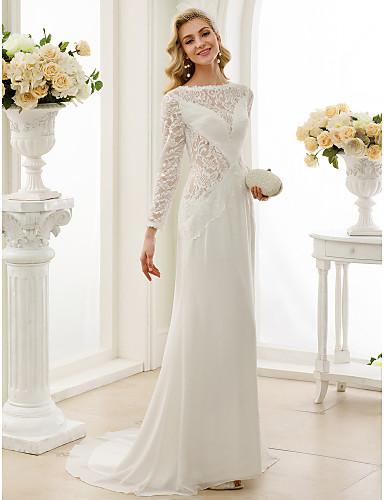 A-vonalú Bateau nyak Seprő uszály Sifon Csipke Esküvői ruha val vel Csipke által LAN TING BRIDE®