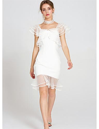 Damen Hülle Trompete/Meerjungfrau Kleid-Lässig/Alltäglich Solide Punkt Quadratischer Ausschnitt Übers Knie Ärmellos Polyester Sommer Hohe