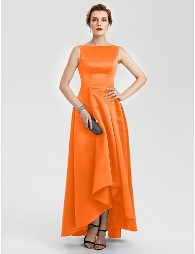 abordables robe invitée mariage-Trapèze Bateau Asymétrique Satin Robe avec Plissé par TS Couture®