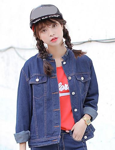 Damen Solide Druck Einfach Ausgehen Jeansjacke,Hemdkragen Winter Lange Ärmel Standard Polyester