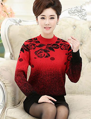 Damen Standard Pullover-Lässig/Alltäglich Druck Rundhalsausschnitt Langarm Nylon Herbst Winter Mittel Mikro-elastisch