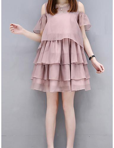Damen Lose Kleid-Ausgehen Niedlich Solide Rundhalsausschnitt Maxi Kurzarm Baumwolle Sommer Hohe Hüfthöhe Mikro-elastisch Transparent