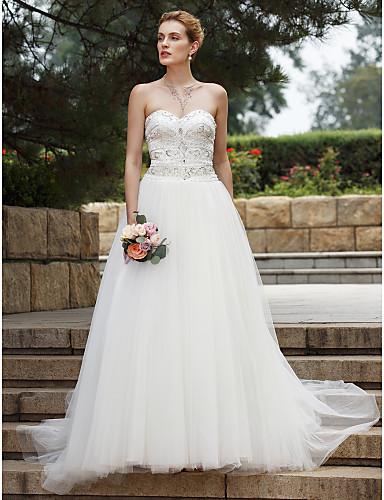 De Baile Decote Princesa Cauda Escova Renda Tule Vestido de casamento com Miçangas Renda Com Pregas de LAN TING BRIDE®